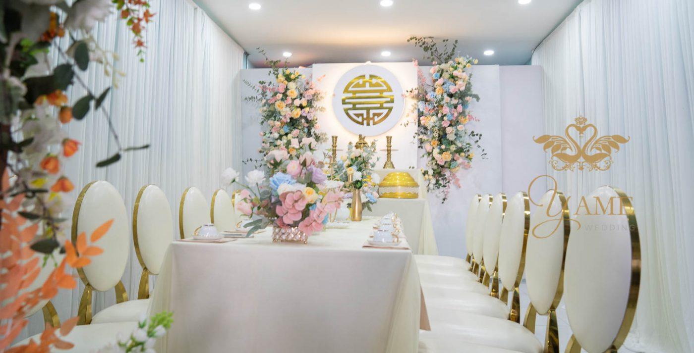 Trang trí lễ gia tiên đám cưới tông màu xanh mint